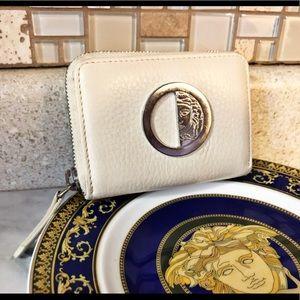 Auth. Versace Collection Cream Compact Zip Wallet